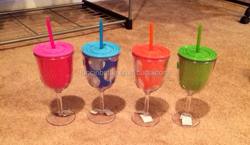 Bpa Free Double Wall Plastic Cordial Glass Tumbler Bpa Free Stemless Wine Sippy Cup Tumbler Wine