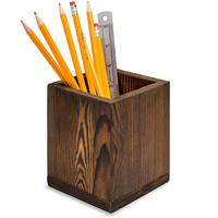 Dark Brown Natural Grain Wood Desktop Pen & Pencil Holder Cups