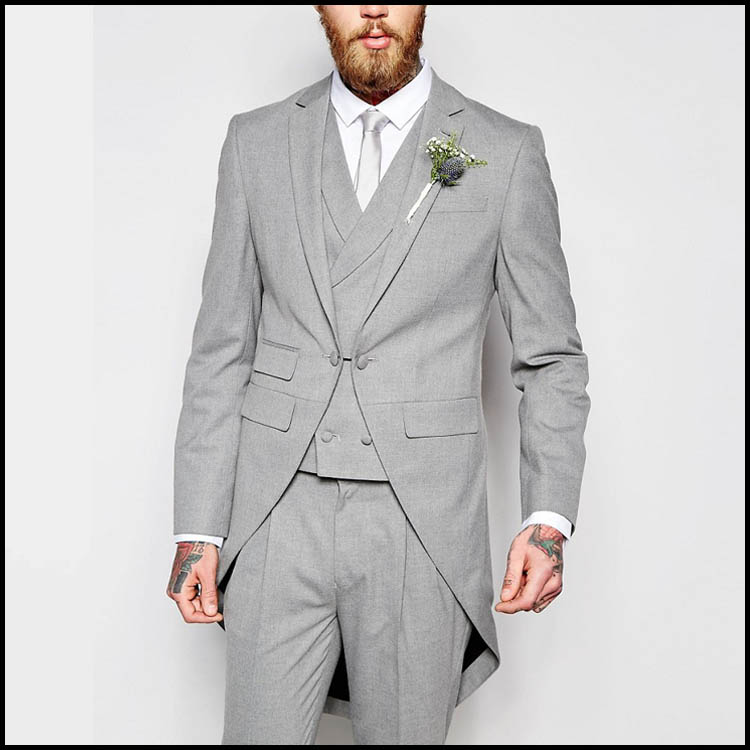 Casual Tuxedo Dress Slim Fit Grey Coat Pant Men Suit For Summer