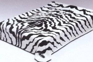 Black White Zebra Print Solaron Korean Thick Mink Plush Blanket Queen