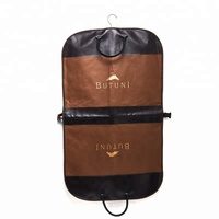 Factory custom non woven garment suit bag clothes storage bags with leather handle zip lock