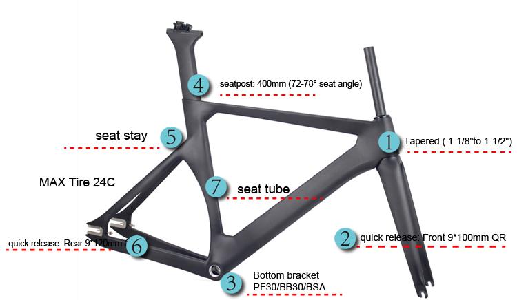carbon fiber bike track frame,hot sell bicycle frame