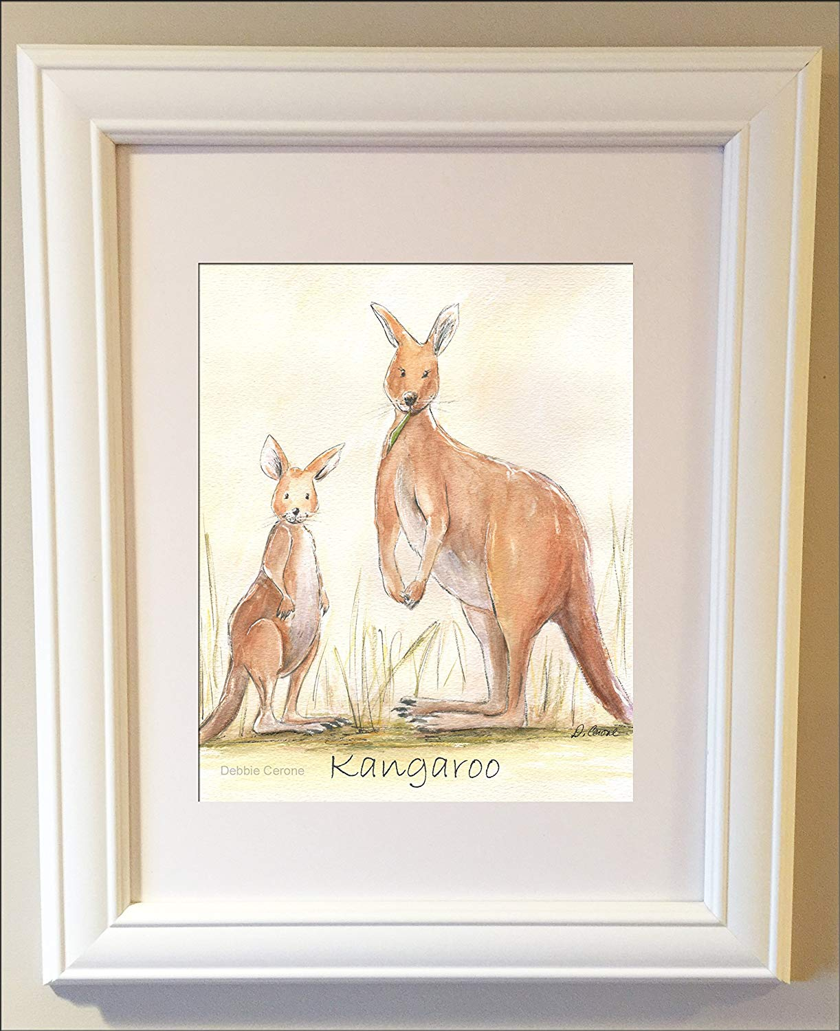 Kangaroo Nursery Wall Art Australian Animal Joey Outback Baby Print Fine 6 Sizes Unframed
