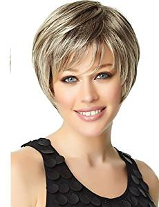 Wigs have an attractive convenience fashion Woman's Light Gold Straight Short Synthetic Mix Wigs