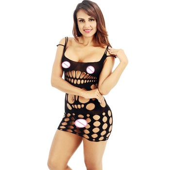 Sexy Women Lingerie Babydoll Fishnet Body stocking Mini Dress Bodysuit Nightwear