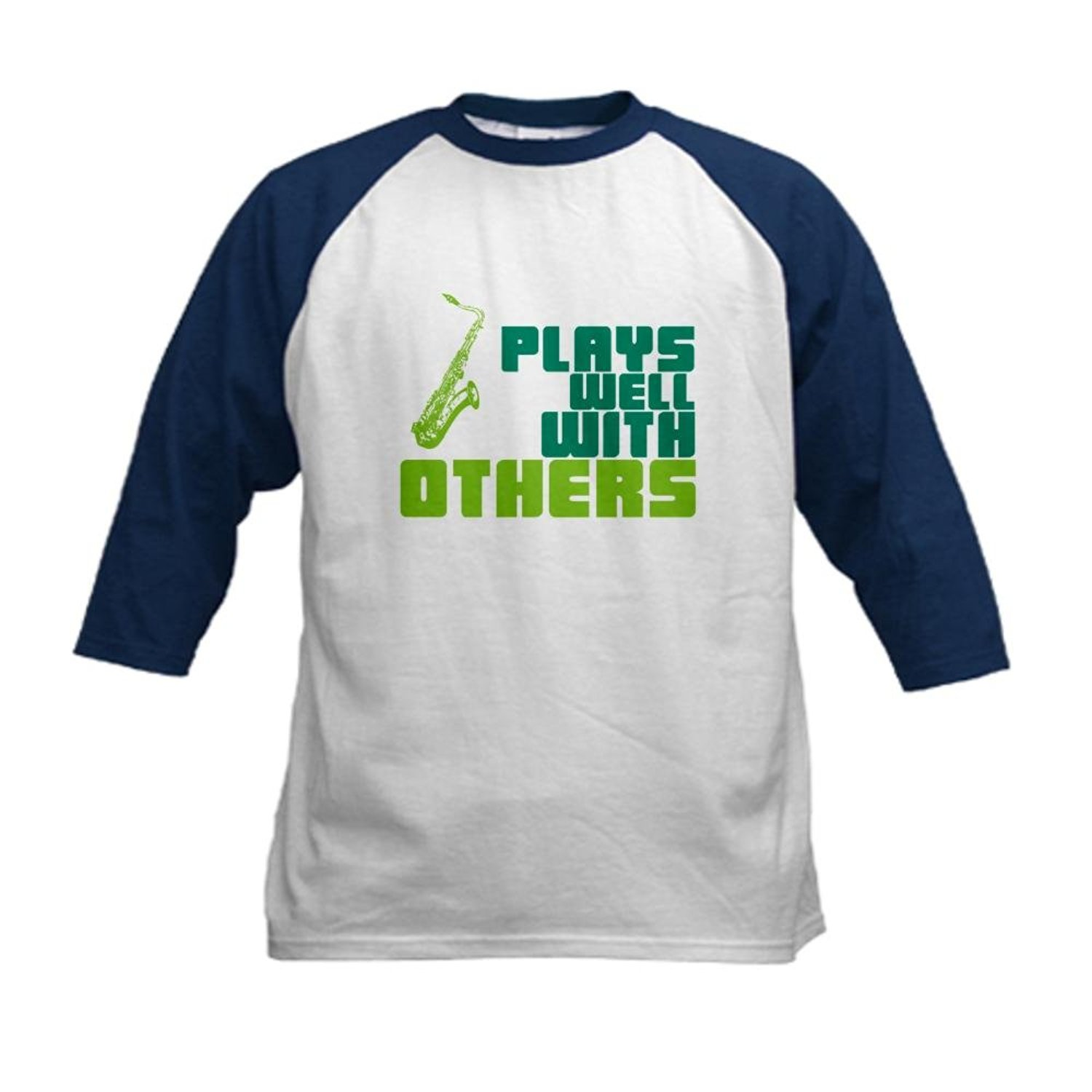 Get Quotations · CafePress - Saxophone (Plays Well With Others) Kids  Baseball J - Kids Cotton Baseball c7073c76beba