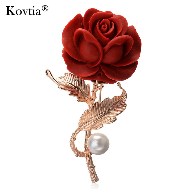 2017 Supplier Bulk Sale Gold Material Pearl Brooch Jewelry Red Rose Flower Brooches on Valentine's Day
