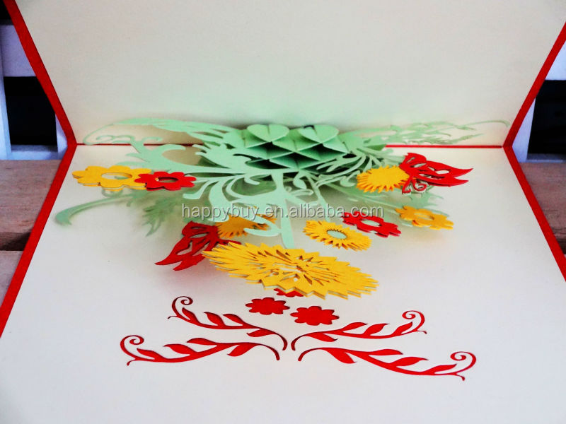 2014 new design sunflower beauty 3d pop up card birthday card