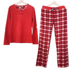 polar fleece Adult clothing sets,classic red round-neck coat and pant women
