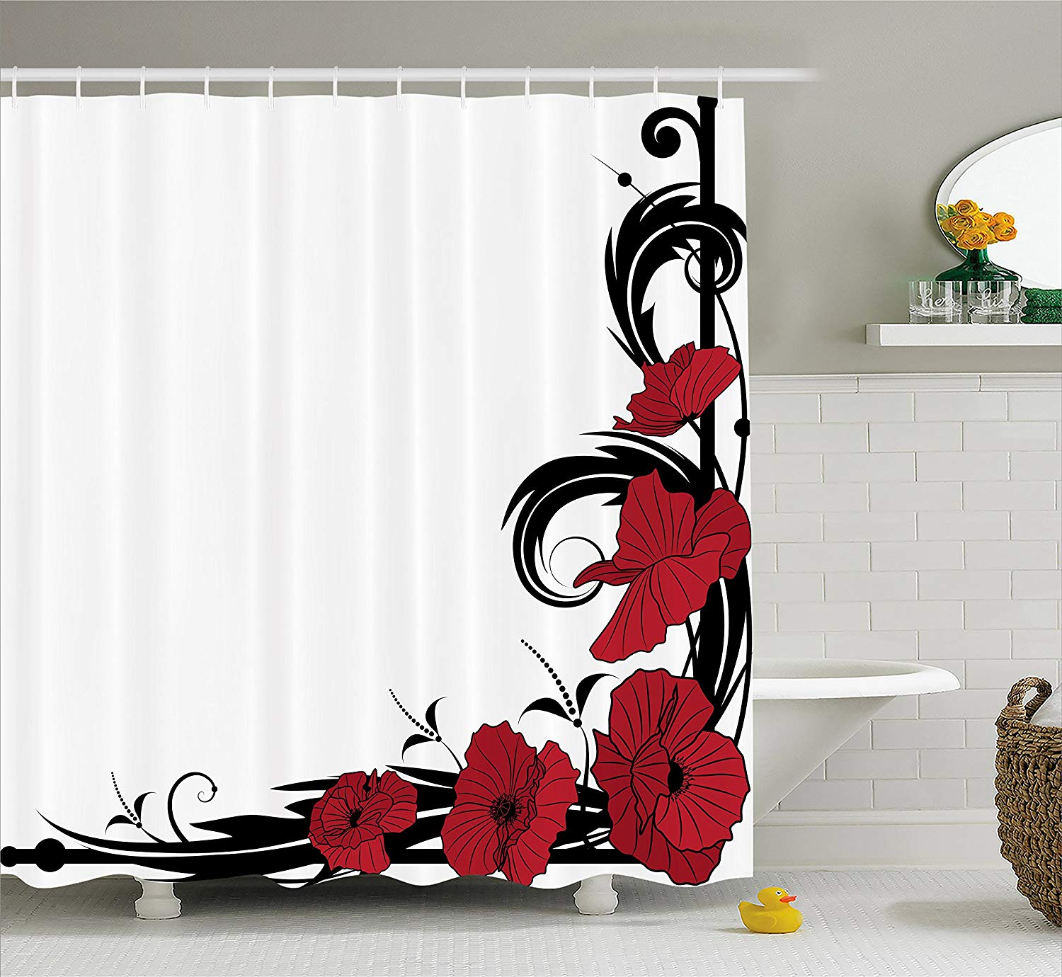 Ambesonne Art Nouveau Shower Curtain, Poppy Bouquet Branches Romantic Pastoral Idyllic Meadow Blossom Vintage, Cloth Fabric Bathroom Decor Set with Hooks, 70 Inches, Black Ruby White