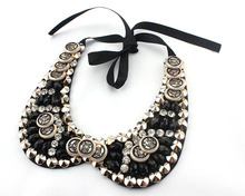 Pendants two flower lace bead collar Charm Blue Shourouk Rose Flower Neon Dress False Collar Necklaces