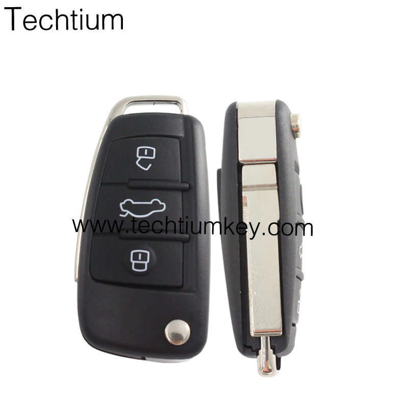 Hot Sale 315mhz Smart Remote Control Folding <strong>Key</strong> For Audi A6L 3 button remote <strong>key</strong> with 8E chip