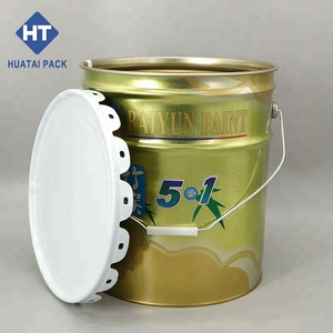20L tinplate paint bucket with lug lid, conical tin pail packaging barrel for adhesive,ink,chemicals,etc