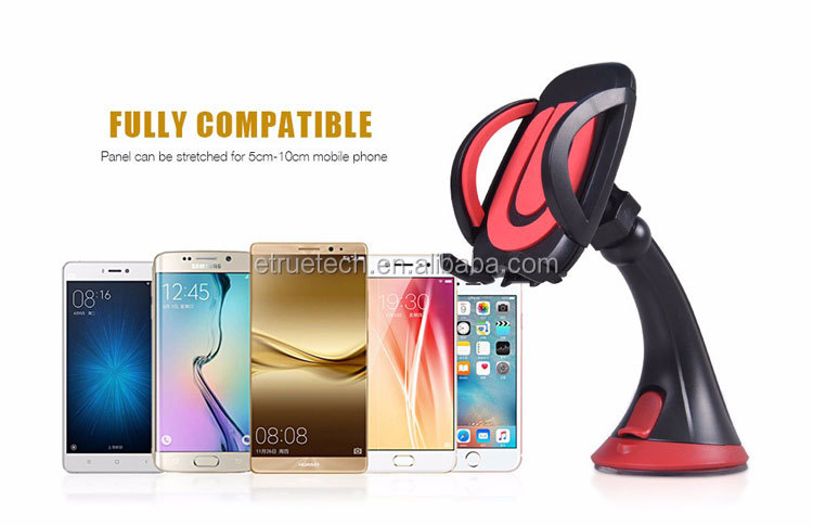 Car Mount Phone Holder; Universal Suction Cup Smartphone Holder for Windshield and Dashboard Phone Stand Car Holder