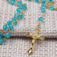 6mm blue Tempered glass crystal rosary beads