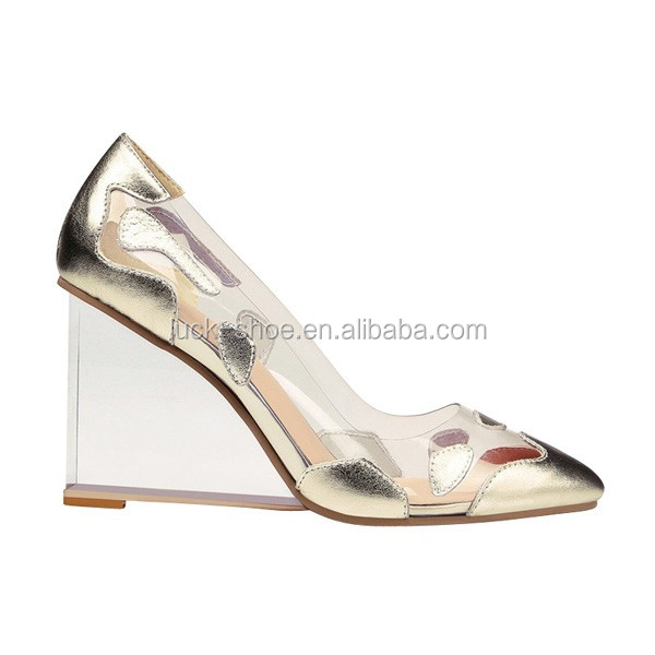 Gold sparkly wedge clear heel shoes dress shoes for women lucite heels  brand designer silver crystal heel evening shoes