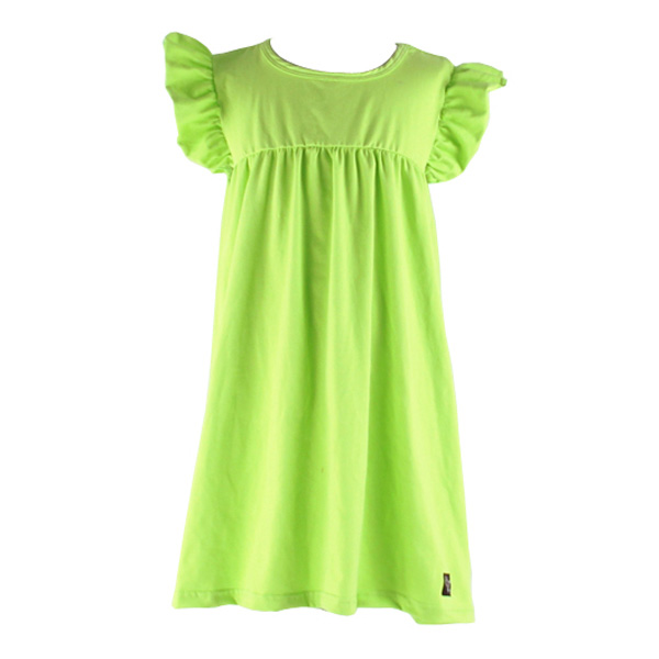 2017 OEM Services Fashion Custom Clothing Lovely Party Dress Flutter Sleeves Pure Color Baby Girl Dress