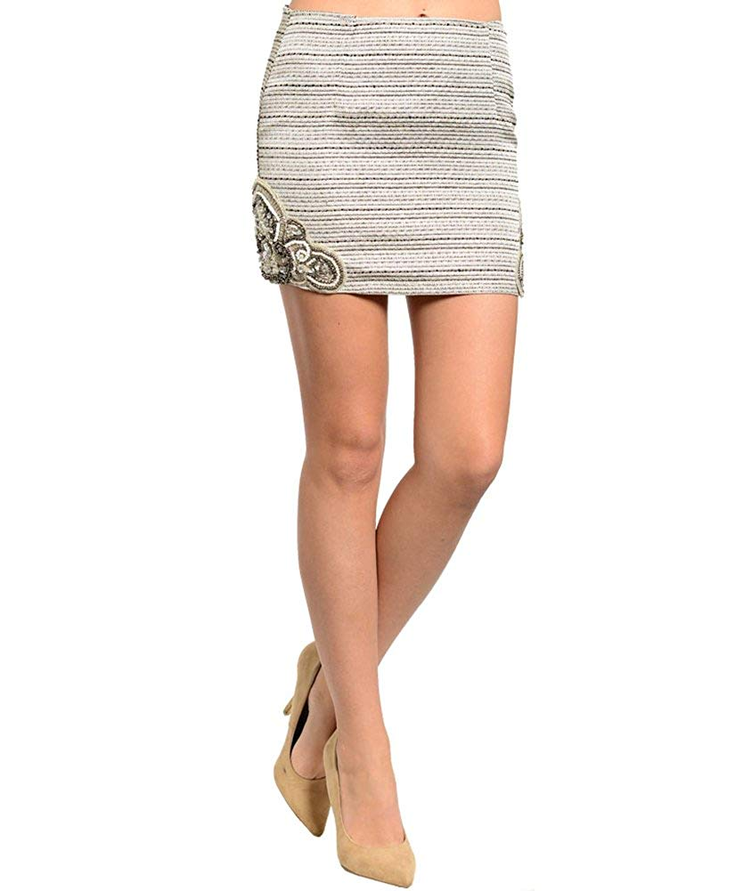 74418ded83843 Fashion Street Womens Embellished Woven Mini Skirt
