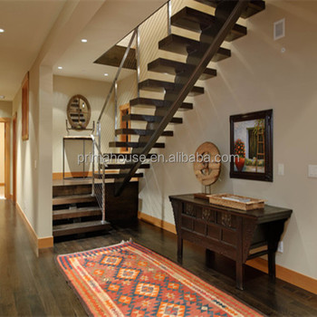 Single Metal Stringer With Wood Steps For Interior Steel Staircase Design