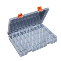 Clear Storage Box Plastic Organizer 36 Compartment with Adjustable Dividers