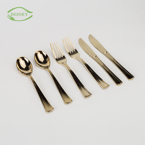 Factory direct dishware spoon fork disposable plastic crose gold cutlery set