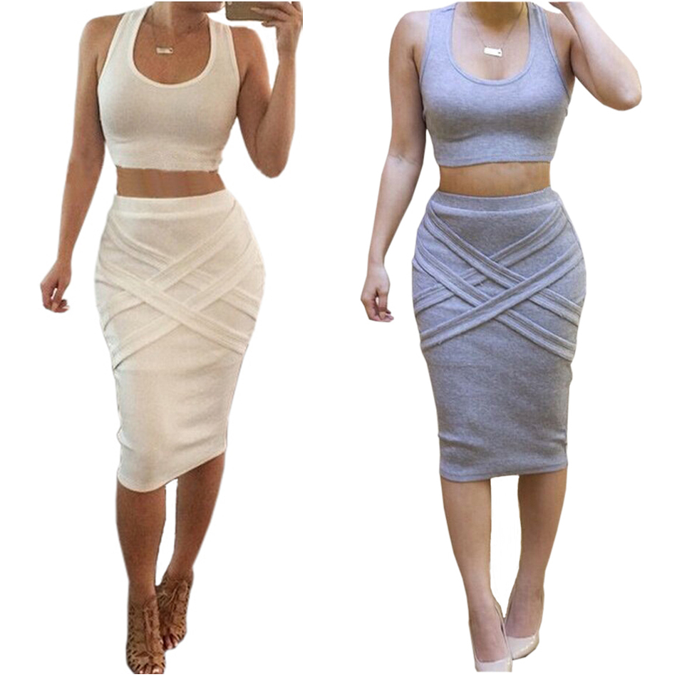 0872f5c67bd 2 Piece Set Women Summer Dress 2015 Fashion Women Clothing White Vestidos  Casaul Sexy Club Midi Bandage Bodycon Party Dresses