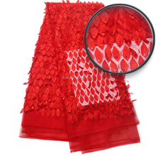 Hot Selling African Style French Embroidery Tulle Lace 2017 Red Party Dress Wholesale Sequin Net Lace Fabric