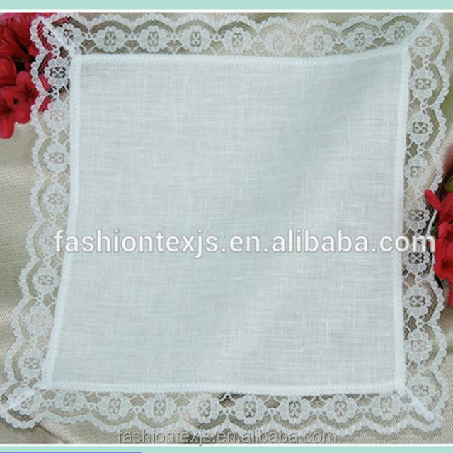 Wide Border Design White Cathedral Lace Handkerchief