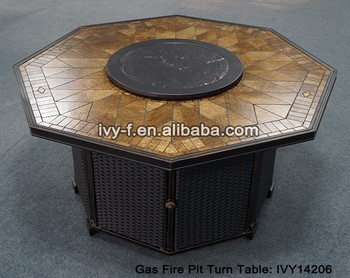 outdoor octangle tisch gas feuerstelle turn table in guss aluminium rahmen lazy susan top. Black Bedroom Furniture Sets. Home Design Ideas