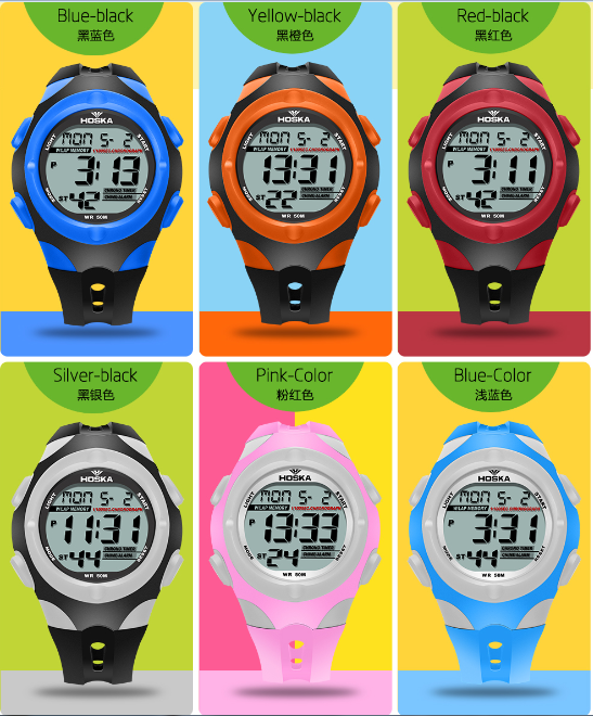 f55dcefc3a93 HOSKA H012S digitales de los niños relojes 12 24 horas Calendario de  deporte de goma