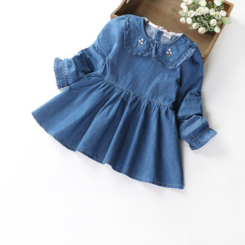a97ad3563 Kids Girls Autumn Denim Dresses For Infant Baby Toddler Girl ...