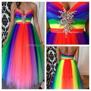 Fantasy long puffy tulle rainbow colored prom dresses floor length sweetheart multi color fashion prom dress 2016 free shipping