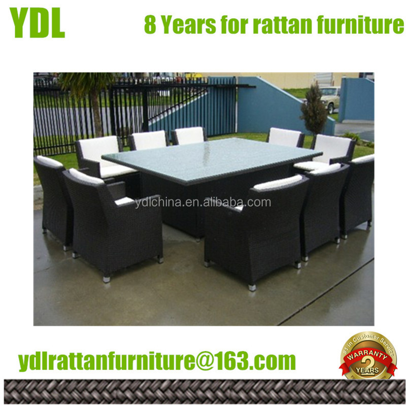 Youdeli Patio 10 seater aluminum rattan dining chair furniture
