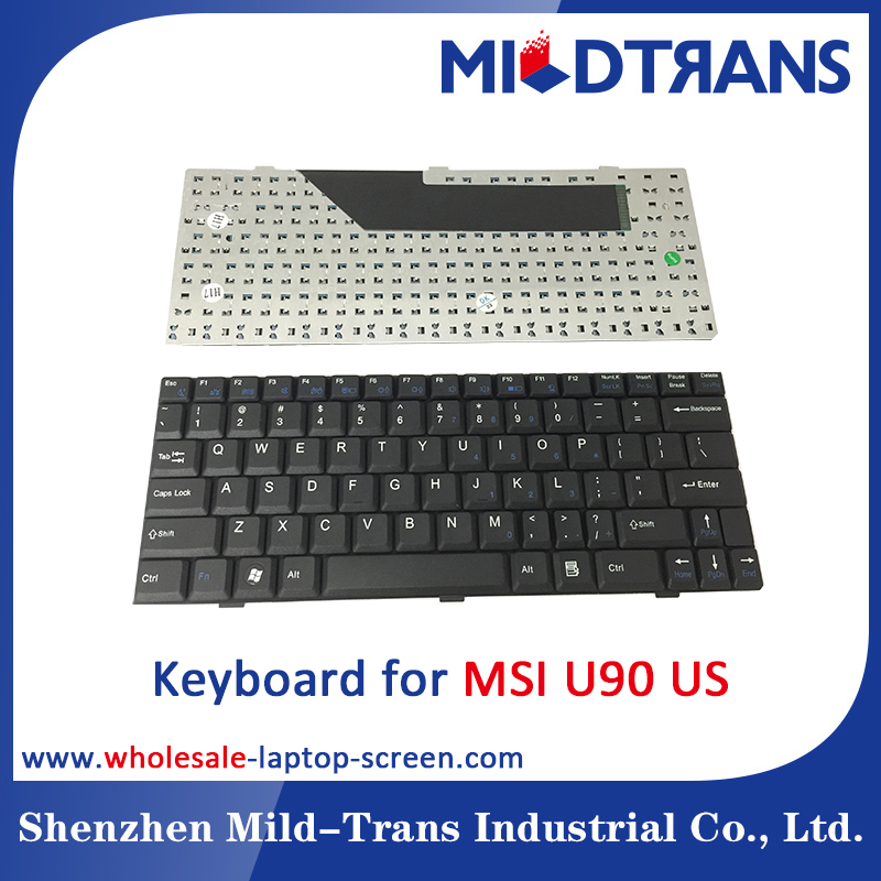 Laptop Keyboard replacement for MSI U90 US/SP/RU/BR/PO Black