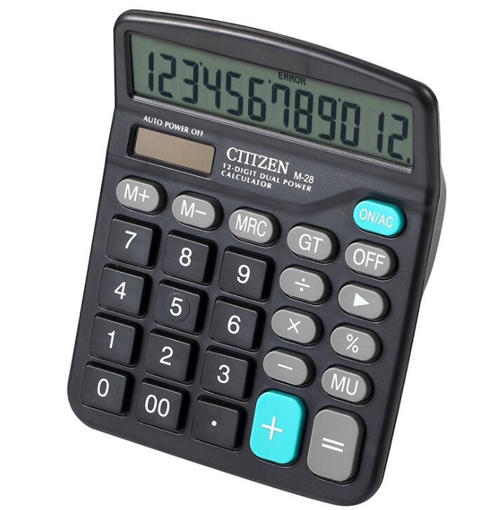 Battery Operated Cheap Promotional 12 Digits Citizen Calculator Plastic Electronic Calculator With Custom Logo