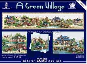 ''A green village'' dome cross stitch, cross stitch kit, DIY embroidery kit