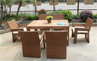 7 pcs wooden rattan dining chairs with table Canada style chair
