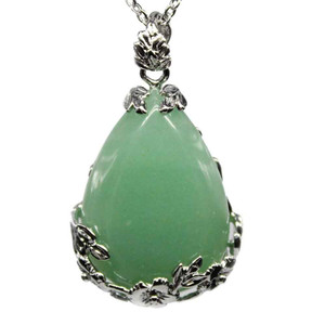 Natural Teardrop Green Aventurine Quartz Stone Pendant Necklace