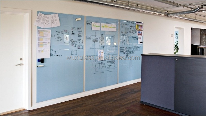 Glass Writing Board Used In Meeting Room Office Blue Color