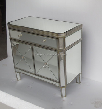 2 Doors Modern Mirrored Bedroom Dresser Table Furniture