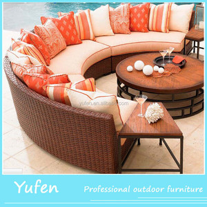 Best royal half round patio furniture rattan curved sectional sofa