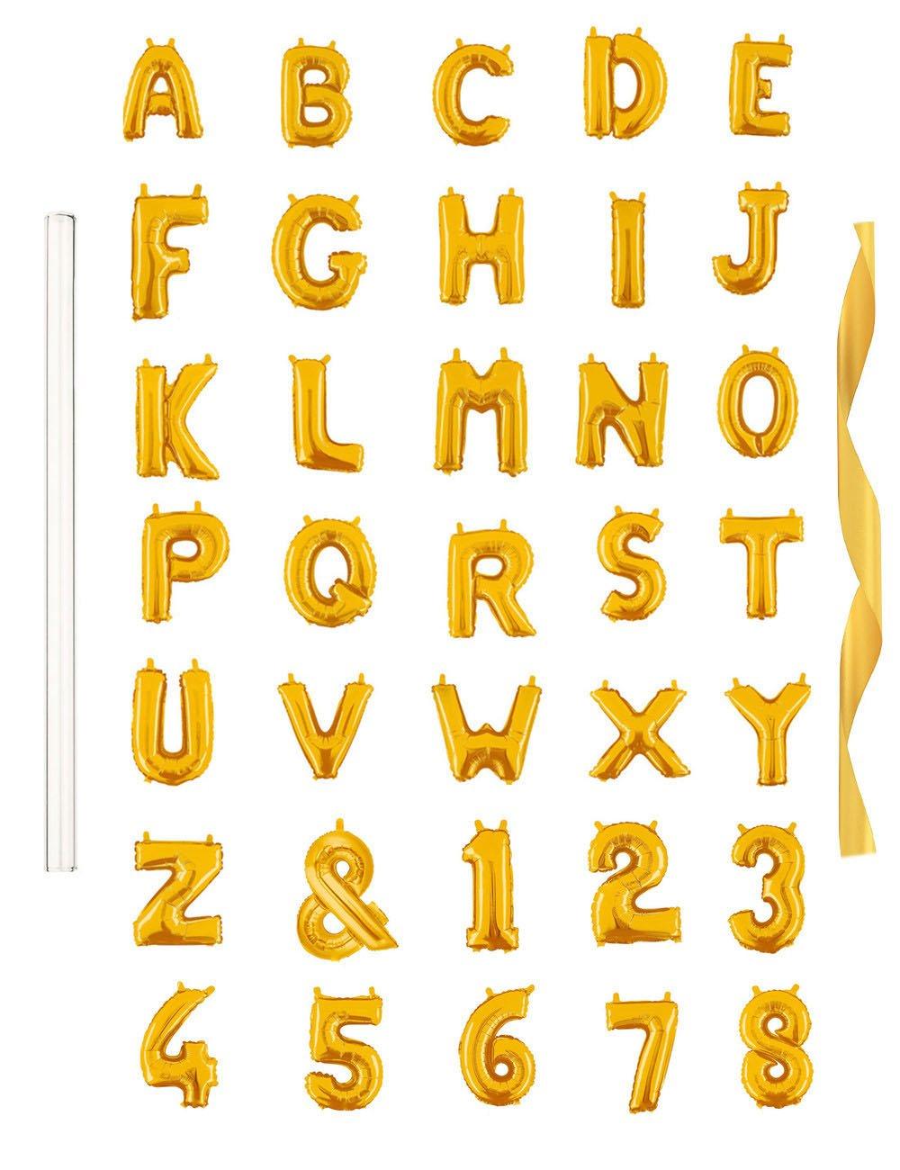 "Rose&Wood 40"" Single Gold Alphabet Letter Balloons Aluminum Hanging Foil Film Balloon Mylar Balloons (40"" ,Letter A)"