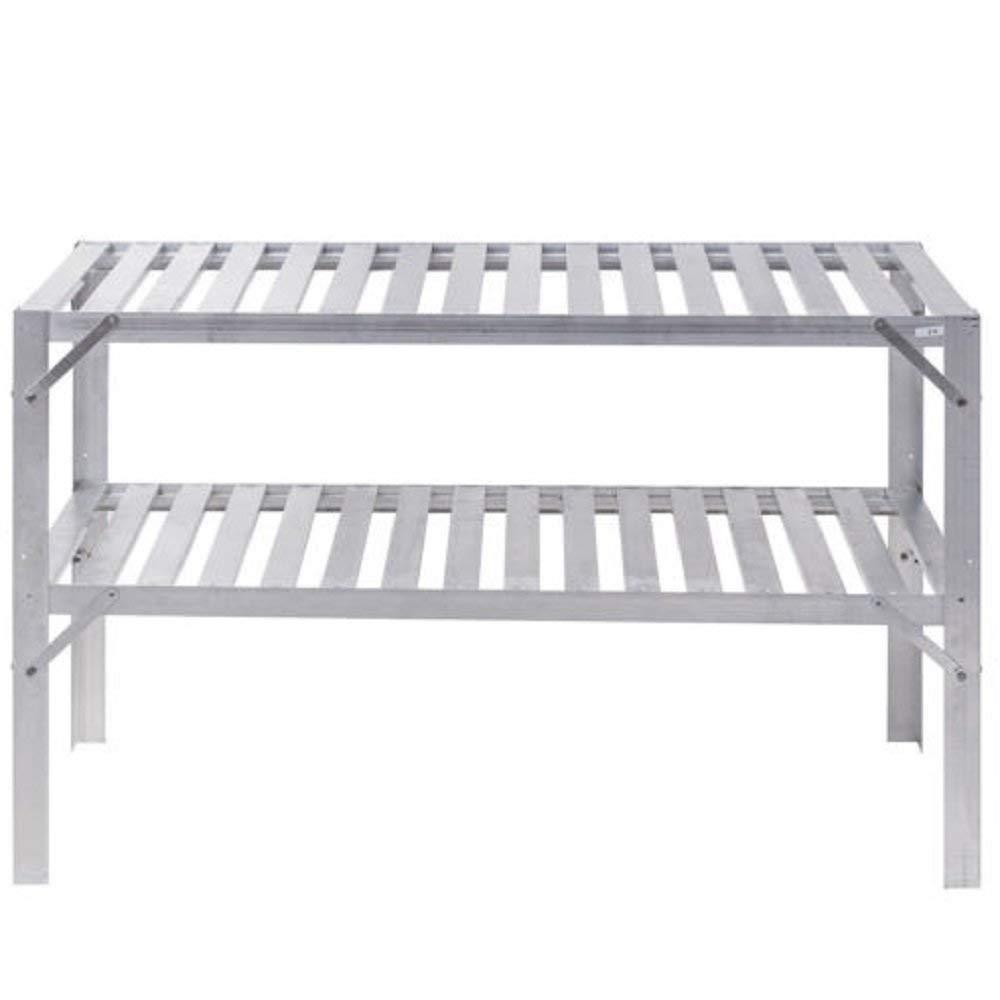 Hermes2shop Aluminum Greenhouse Workbench Staging Potting Planting Box Table Storage Shelves
