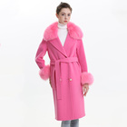 Europe USA Fashion Cashmere Long Coats Women Wear Wool Blend Coat Online Wholesale Real Fox Fur Double Face Coat with Belt