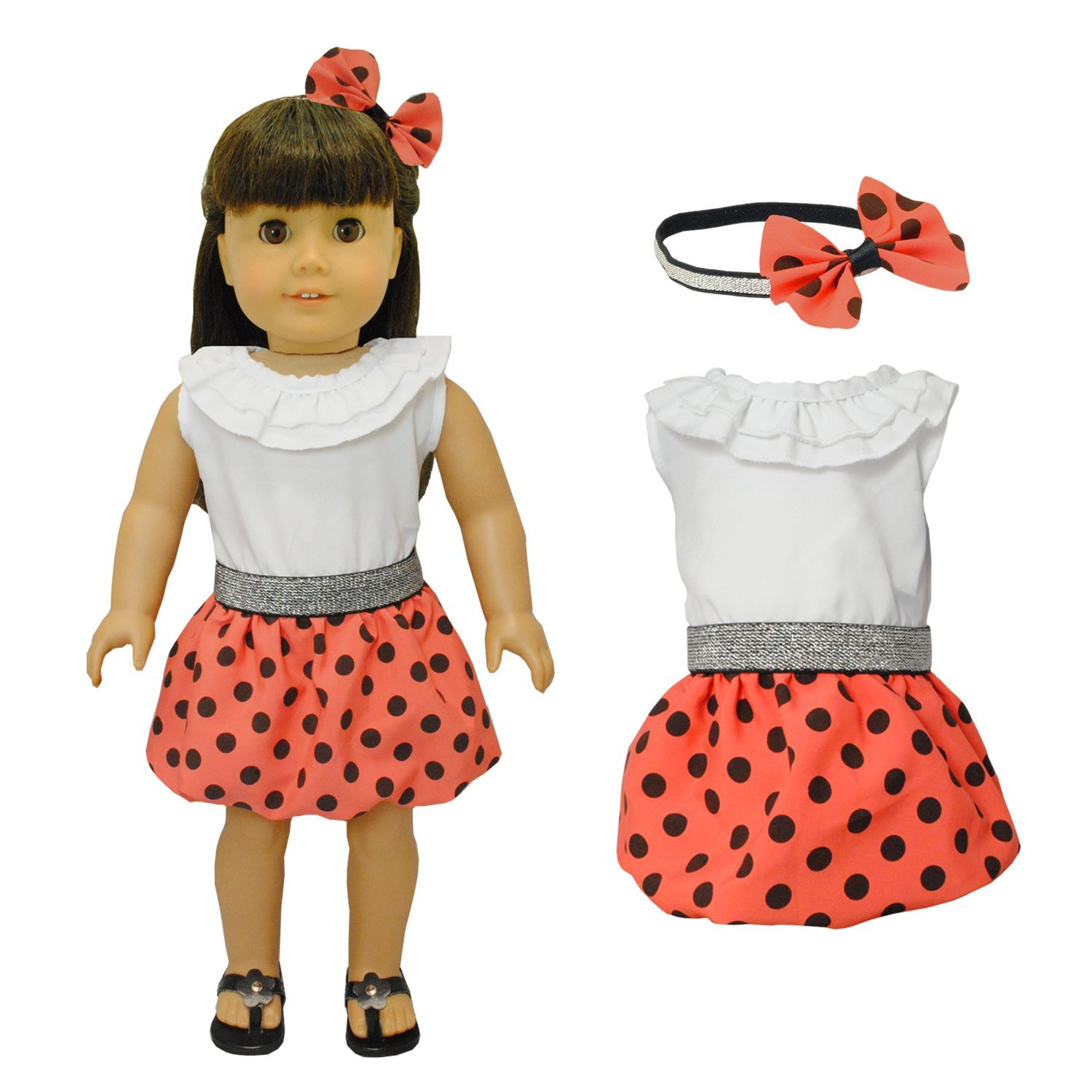 Buy Doll Clothes White Polka Dots Dress with Head Band Set Fits