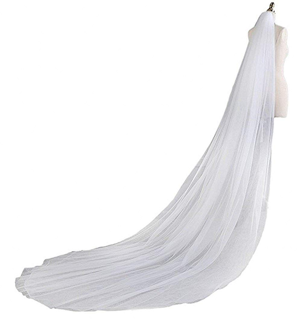WH Elegant Two Layers Tulle Cut Edge Wedding Bridal Veil +Comb White Ivory 115inches Catheral Train