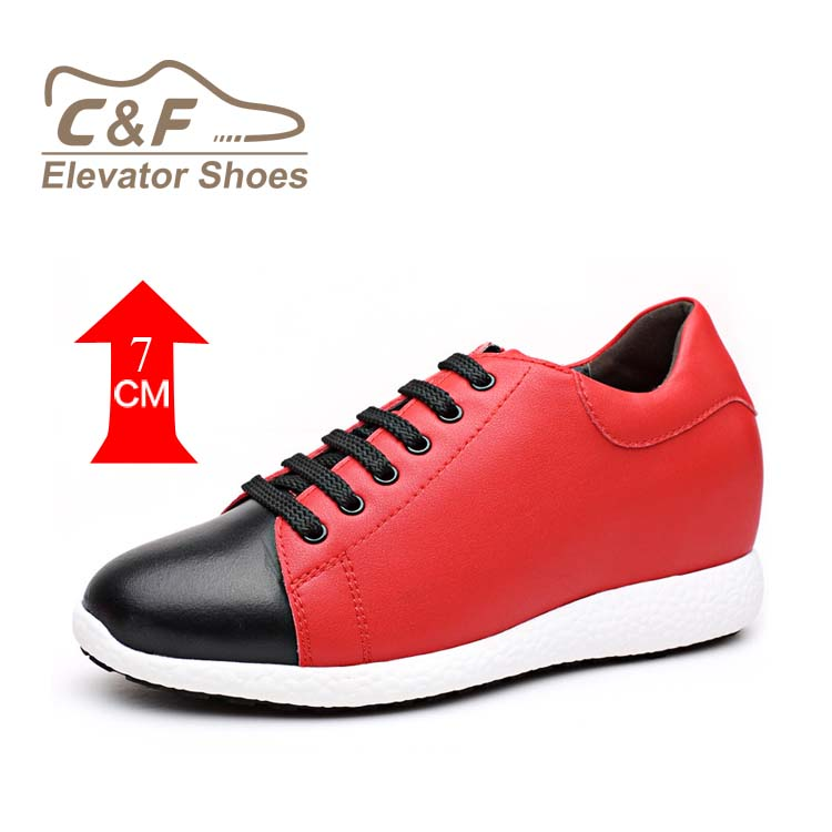 Black shoes women leather red casual hidden heel SHSgTx