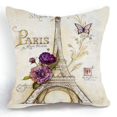 Paris Eiffel Tower Flower Home Decor Sofa Decorative Pillow Case Funny Cushion Cover Coussin Emoji Memory Cushion Carro Cuscini