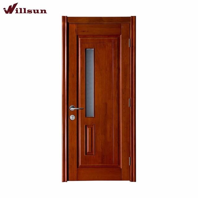 Nyatoh Wood Veneer Solid Flush Wood Doors With Frosted Glass Internal Study  Doors