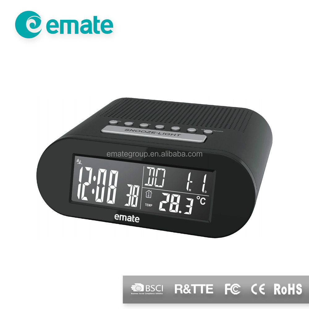 Neat design alarm radio clock with calendar display